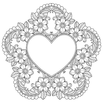 Patrón circular en forma de mandala con marco en forma de corazón.