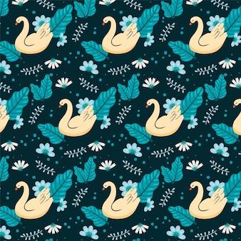 Patrón de cisne elegante