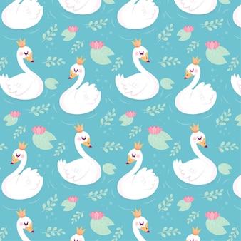 Patrón con cisnes elegantes