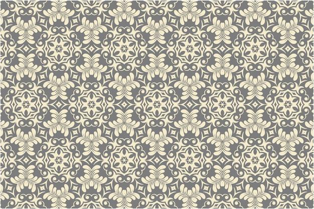 Patrón clásico de damasco sin costuras en colores neutros