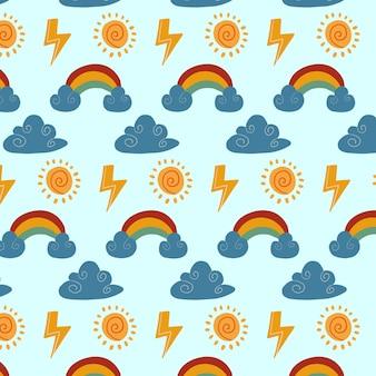 Patrón de clima con nube sol arco iris y truenos