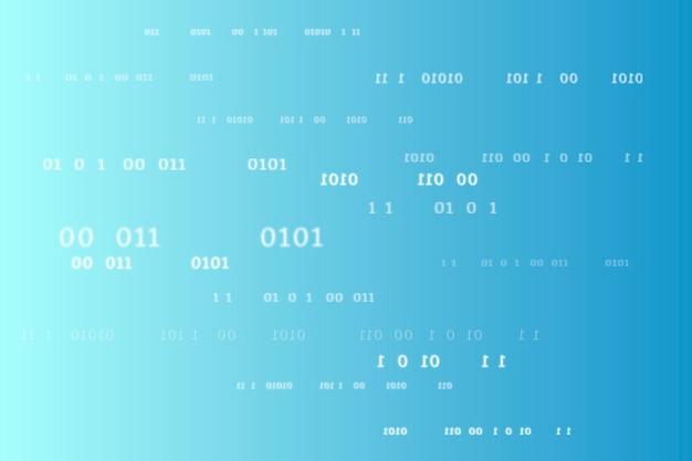 Patrón de código binario sobre fondo azul