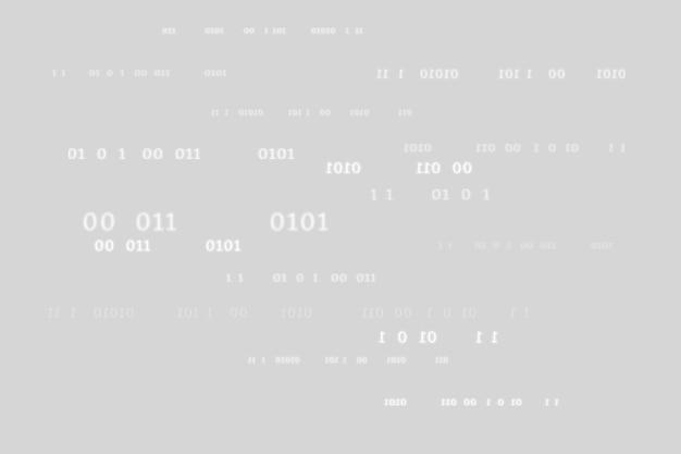 Patrón de código binario sobre fondo gris