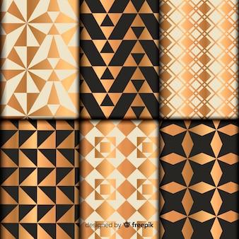Patrón de colección con formas geométricas.