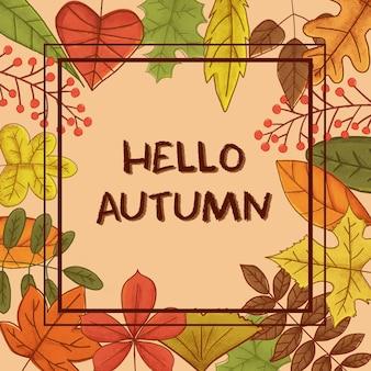 Patrón de colección de hojas de temporada de otoño