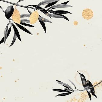 Patrón de colibrí sobre un fondo beige