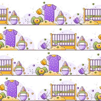 Patrón de color transparente con accesorios para bebés