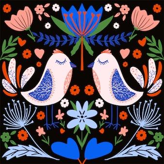 Patrón de colores de arte popular con flores y pájaros