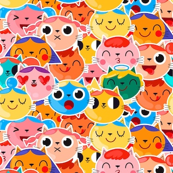 Patrón de colores diferentes emoticonos