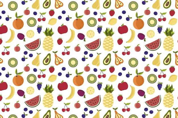 Patrón de colores diferentes frutas