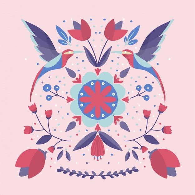 Patrón de colores escandinavos de arte popular con flores y pájaros