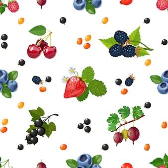 Patrón de colores sin fisuras de bayas frescas