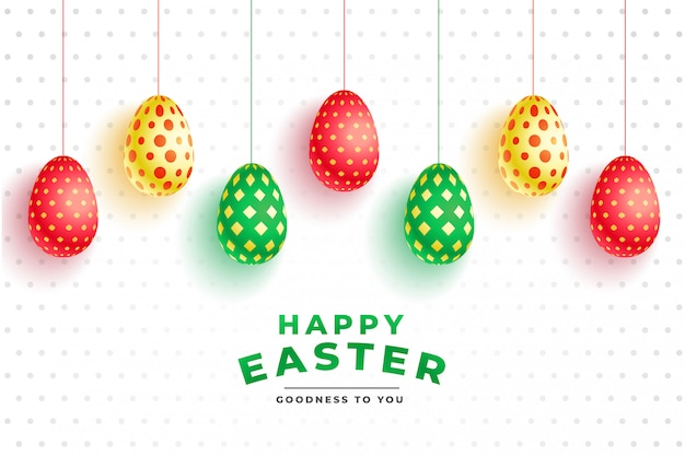 Patrón de colores huevos 3d para el día de pascua