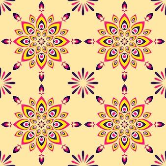 Patrón de colores rangoli o mandala y fuegos artificiales de fondo.