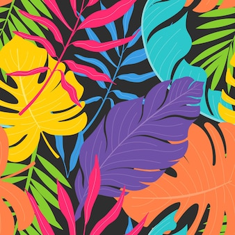Patrón de coloridas flores y hojas exóticas