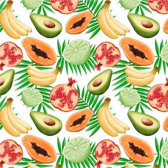 Patrón de coloridas frutas tropicales
