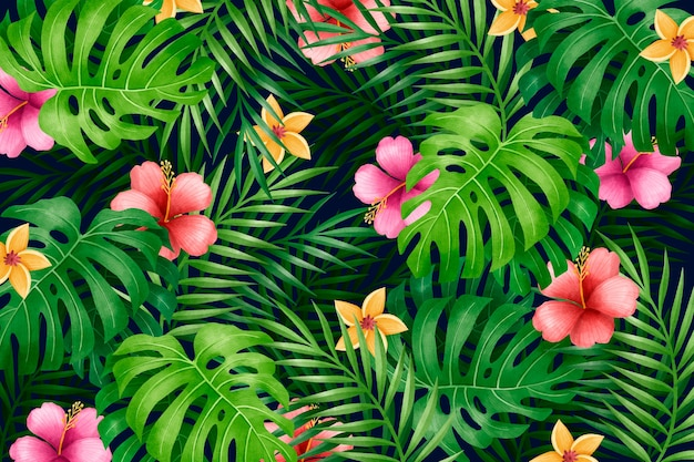 Patrón de coloridas hojas florales