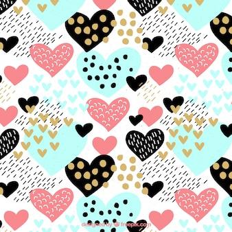 Patrón colorido con corazones y puntos en estilo vintage