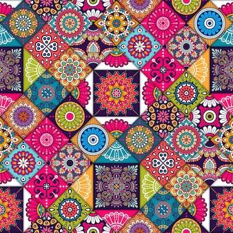 Patrón colorido de cuadrados étnicos