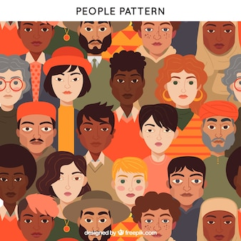 Patrón colorido de gente con diseño plano