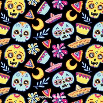 Patrón colorido de día de muertos con calaveras