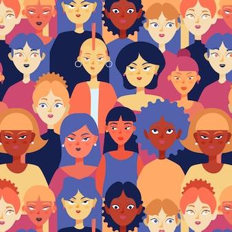 Patrón colorido del día de la mujer con rostros de mujeres