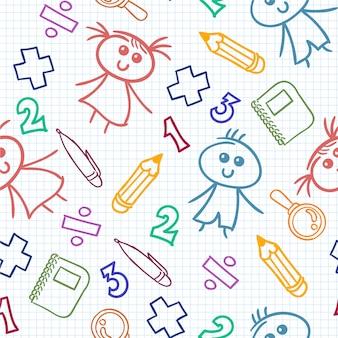 Patrón colorido de dibujo infantil