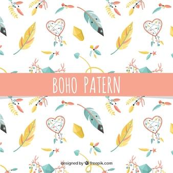 Patrón colorido de estilo boho con plumas de diseño plano