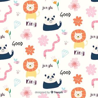 Patrón colorido de garabatos de animales, flores y palabras