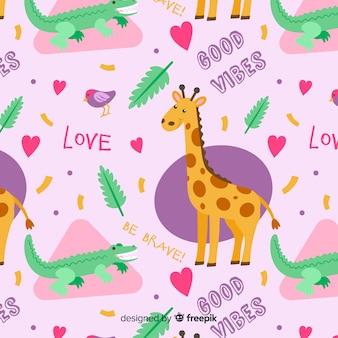 Patrón colorido de garabatos de animales y palabras