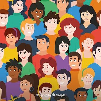 Patrón colorido de gente joven