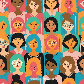 Patrón colorido de mujeres dibujado a mano