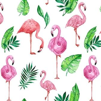 Patrón colorido pájaro flamenco