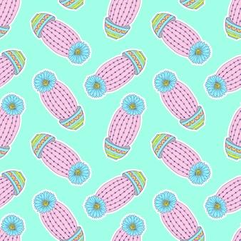 Patrón con coloridos cactus dibujados a mano