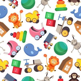 Patrón con coloridos juguetes para niños sobre fondo blanco.