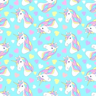 Patrón con coloridos unicornios