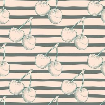 Patrón de comida sin costuras con silueta de cerezas. fondo con franjas negras. bueno para textiles, papel de regalo, papeles pintados, estampados en tela. ilustración.