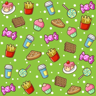 Patrón de comida dulce doodle de dibujos animados