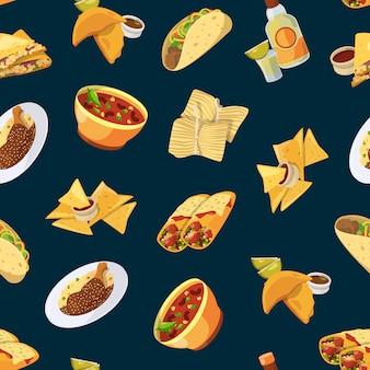 Patrón de comida mexicana de dibujos animados o