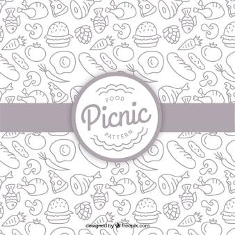 Patrón de comida de picnic dibujada a mano