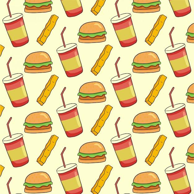Patrón de comida rápida con hamburguesas, papas fritas y refrescos