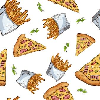 Patrón de comida rápida mano dibujar ilustración retro. diseño vintage