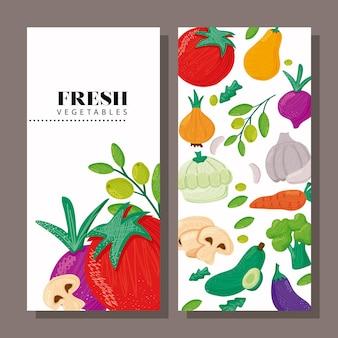 Patrón de comida sana de verduras en banner y letras ilustración