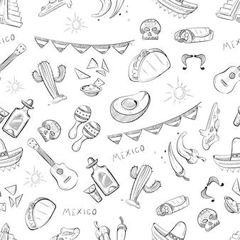 Patrón de comida tradicional mexicana.