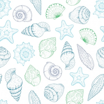Patrón de concha de mar. concha de fondo sin fisuras. ilustración de la playa del océano con bosquejo estrellas de mar, conchas, conchas tropicales. impresión vintage marinera de verano. gráfico azul de vida submarina dibujada a mano
