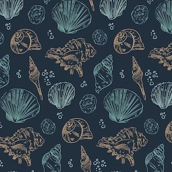 Patrón de conchas marinas diferentes vintage