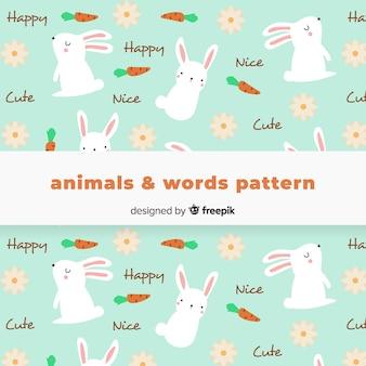 Patrón conejo y palabras dibujados a mano