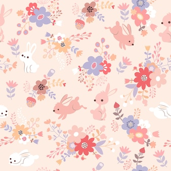 Patrón de conejo rosa estampado