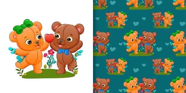 Patrón conjunto de patrones de la pareja de osos de peluche jugando juntos en el jardín
