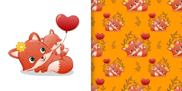 Patrón conjunto de patrones del zorro bebé sostiene el globo al lado de su madre